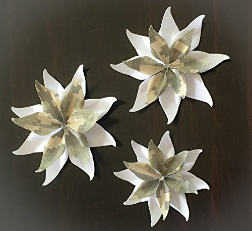 White and Digital Camouflage Set Of 3 Paper Layered Rhinestone Bling Flower Wedding Decoration Favor Card Making from Bella Supply Boutique