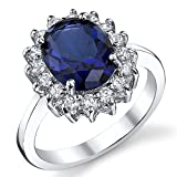 Solid Sterling Silver Kate Middleton's Engagement Ring with Blue Sapphire Cubic Zirconia Replica Size 5