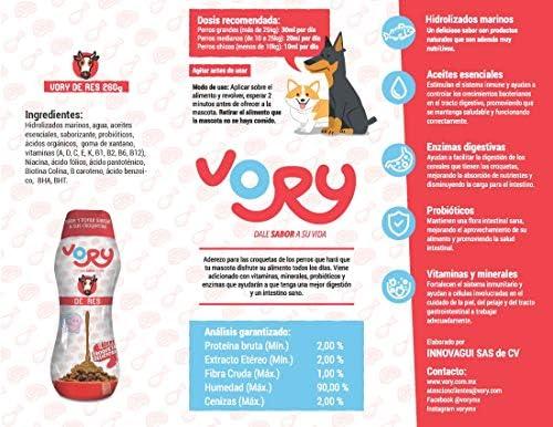 Vory delicioso aderezo para las croquetas de tu perro, complemento alimenticio, utilízalo también como premio, le ayudara a mejorar su digestión, las vitaminas y probioticos que necesita (Mixto, 1 Res + 1 Pollo + 1 Salmón) 6