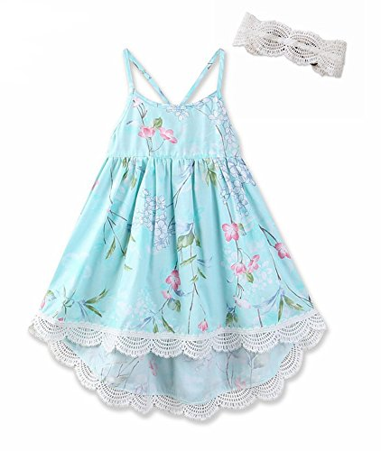 Girl Blue Floral Skirt (AOVCLKID Kid's Summer Straps Beach Skirt Girls Vintage Floral Dress (Blue,4T))
