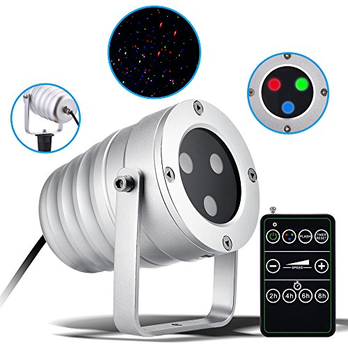 Laser Green Projector Star (Christmas Laser Light with Red/Green/Blue Light, Ominilight Aluminum Alloy Star Laser Show, RF Wireless Remote, Holiday Outdoor Projector Waterproof)