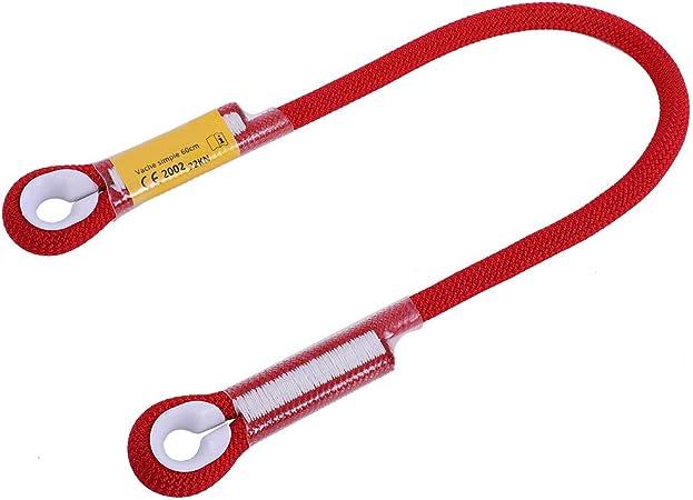 Alomejor Cuerda de Seguridad para Escalada con rodamiento de Anillo(60CM-Red)