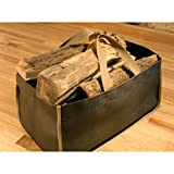 "American-made Firewood Tote and Carrier (Large size 22"" x 12"" x 12"") (8-16) is made of stylish, super-durable corded poly fabric. Black with CLASSIC KHAKI trim."