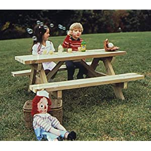 A Full Size Woodworking Pattern and Instructions to Build a Kids Picnic Table