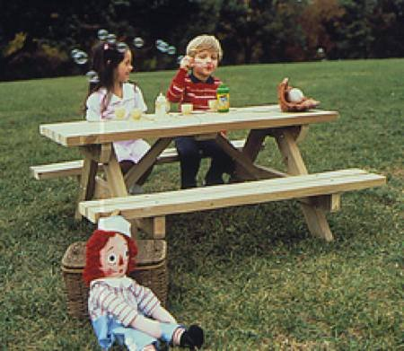 - A Full Size Woodworking Pattern and Instructions to Build a Kids Picnic Table