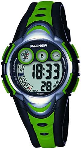 Kids Outdoor Sports Watch,Lightweight Waterproof Swimming LED Round Digital Dial Wristwatch With Alarm Back Light Stopwatch Calendar for Boys Girls with Gift box (green)