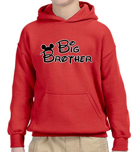 Big Kids Hoody (New Way 553 - Youth Hoodie MICKEY MOUSE BIG BROTHER Unisex Pullover Sweatshirt Small Red)