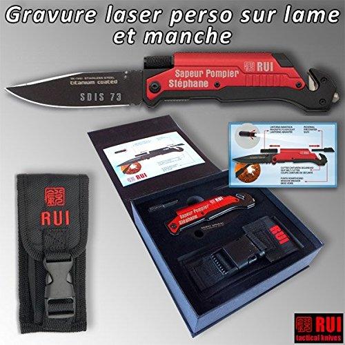 RUI 19451 personalizado-Cuchillo táctico, color negro rojo ...