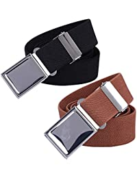 Kids Adjustable Magnetic Belt for Boys - Girls Elastic Stretch Buckle Belts by WELROG (Black/Brown)