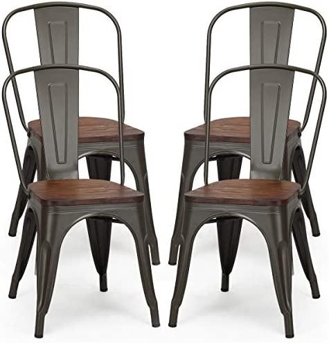 RELAX4LIFE Metal Dining Chairs Set of 4 Stackable Chairs Set 18 Inch W/Back and Stable Steel Frame