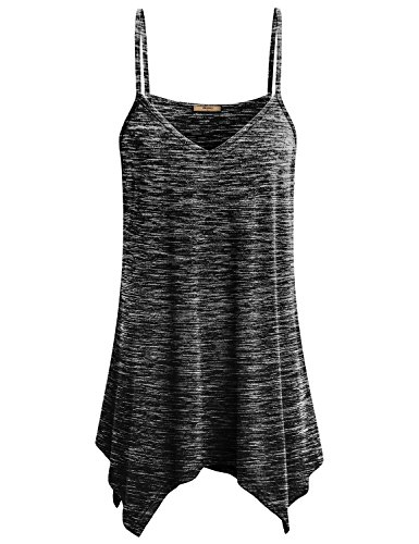 Miusey Tank Tops for Women Shirts Ladies Handkerchief Hem Fowly Summer Spaghetti Strap Camisoles Loose Long Cami Form Fitting Cotton Dress L Space Dye Black (Top Shirt Spaghetti)