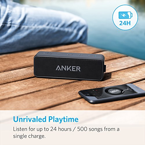 Anker SoundCore 2 Portable Bluetooth Speaker with Better Bass, 24-Hour Playtime, 66ft Bluetooth Range, IPX5 Water Resistance & Built-in Mic — Dual-Driver Wireless Speaker for iPhone, Samsung etc