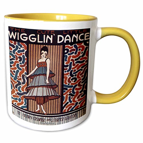 (3dRose BLN Vintage Song Sheet Covers Reproductions - The Cute Little Wiggle Dance Woman in 20s Style Dress Dancing - 15oz Two-Tone Yellow Mug (mug_171114_13))