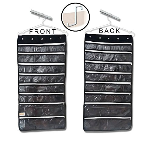 Premium Hanging Jewelry Organizer 44 Secure Zipper Pockets - Hanger & Door Hanging Hook - Stores Jewelry, Accessories, Cosmetics, Makeup & Toiletries - Durable Two Sided Foldable Storage - Saves Space