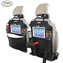 """Oasser Kick Mats Car Backseat Protector with Clear 10"""" Ipad Holder and 3 Storage Organizers Extra Tissue Storage Bag 2 pack X Large Size Pockets"""