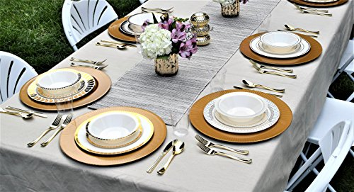 200 Piece Heavyweight Party Disposable Plastic Plates and Cutlery Set Includes 40 Dinner Plates 40 Dessert Plates and 40 Pieces of Glossy Silver Plastic Forks Knives and Spoons (Rose Gold) by Exquisite (Image #2)