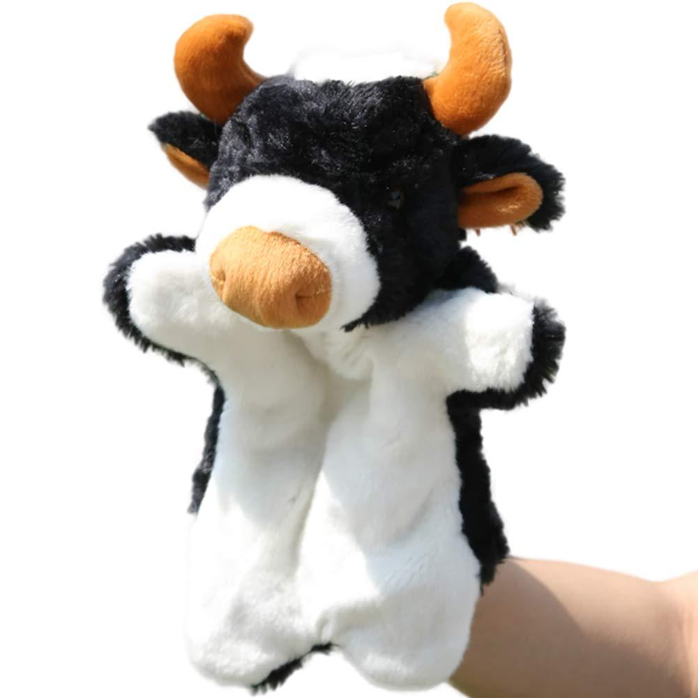 1pc Fingerpuppen Fingerpuppen Tier Cloth Baby-pädagogische Hand Geschichte Plüsch Story Telling Spielzeug Kuh Handpuppe (Big Horn) Hilai