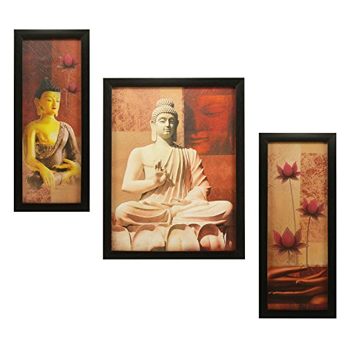 3 PC Set of Budha Paintings 1011 Without Glass 5.2 X 12.5