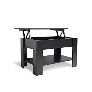Laura James Lift Up Top Coffee Table With Storage And Shelf Black