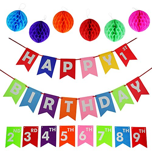 - Happy Birthday Decoration Banners Supplies up to 9 years of Birthday Celebration with Set of 6 Tissue Pom Pom Balls of Felt Materials