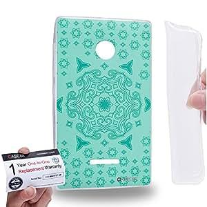 Case88 [Nokia Lumia 435] Gel TPU Carcasa/Funda & Tarjeta de garantía - Art Fashion Turquoise Doodle Doilies Art1550