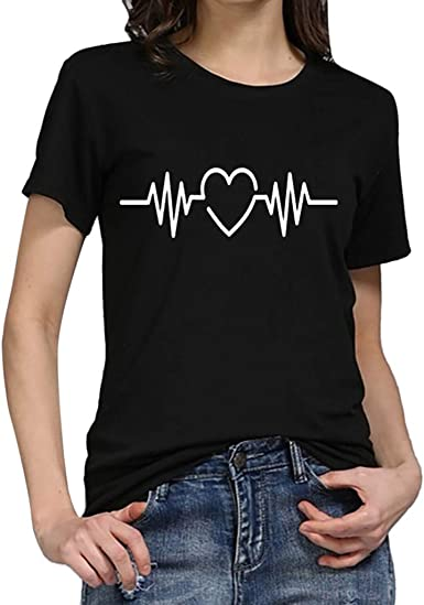Camiseta de Mujer Manga Corta Corazón Impresión Blusa Camisa Cuello Redondo Promociones Verano Blusa Mujer Top: Amazon.es: Ropa y accesorios