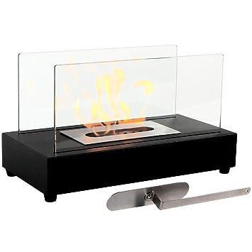 Amazoncom Sunnydaze Black El Fuego Ventless Tabletop Bio Ethanol