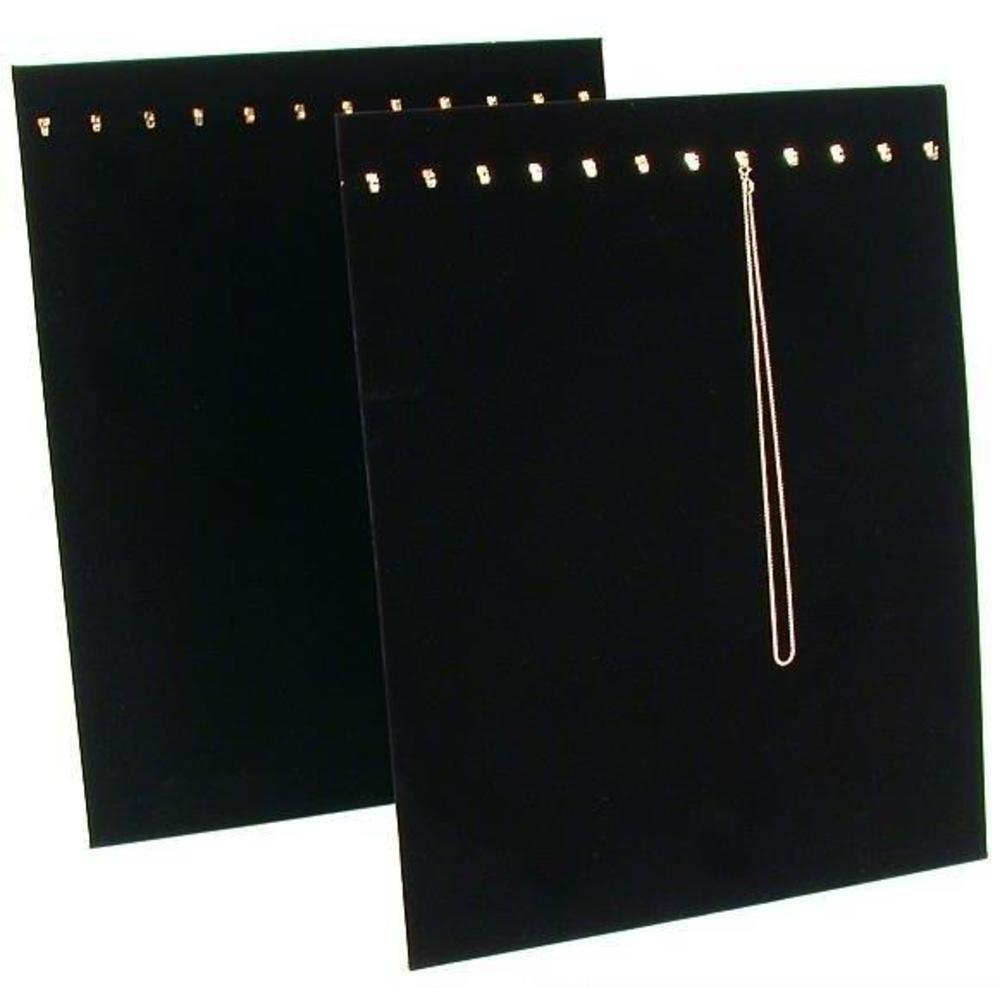 2 Black Velvet 12 Chain Necklace Showcase Easel Display Pads 68-H1BK (2)