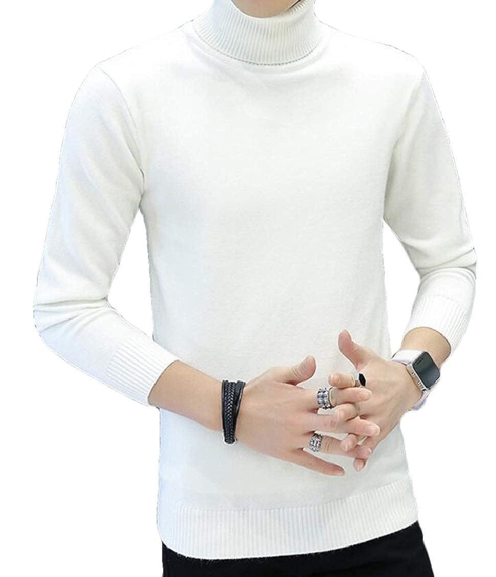 Fubotevic Men Long Sleeve Knit Jumper Turtleneck Basic Pullover Sweater