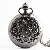 Zxcvlina Classic Smooth Unisex Retro Pocket Watch Black Boutique Carved Roman Numerals Mechanical Pocket Watch with Chain Suitable for Gift Giving