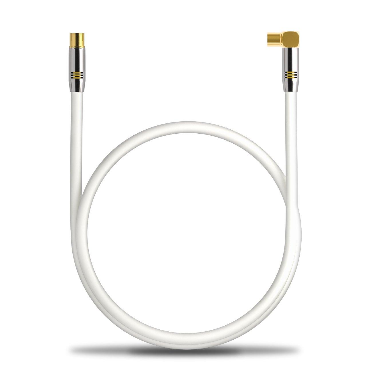 deleyCON TV Cable de antena 1,5m Cable coaxial / Conector dorado macho de TV / hembra de TV 90° Conector de metal 100dB UltraHD FullHD: Amazon.es: ...