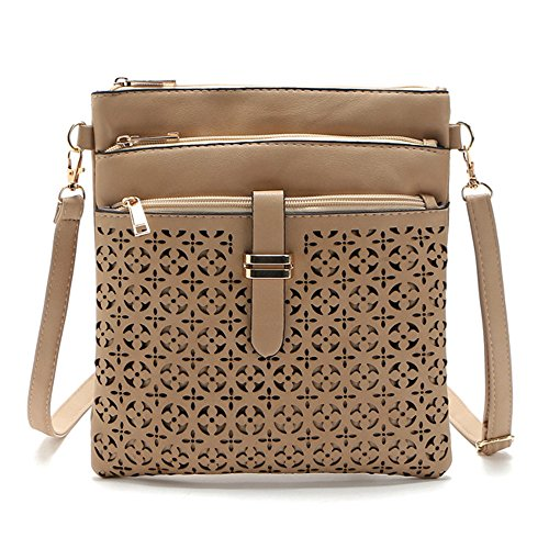 Medium Crossover (DukeTea Multi Pockets Medium Crossbody Purse, Faux Leather Crossover Shoulder Bag for Women Khaki)