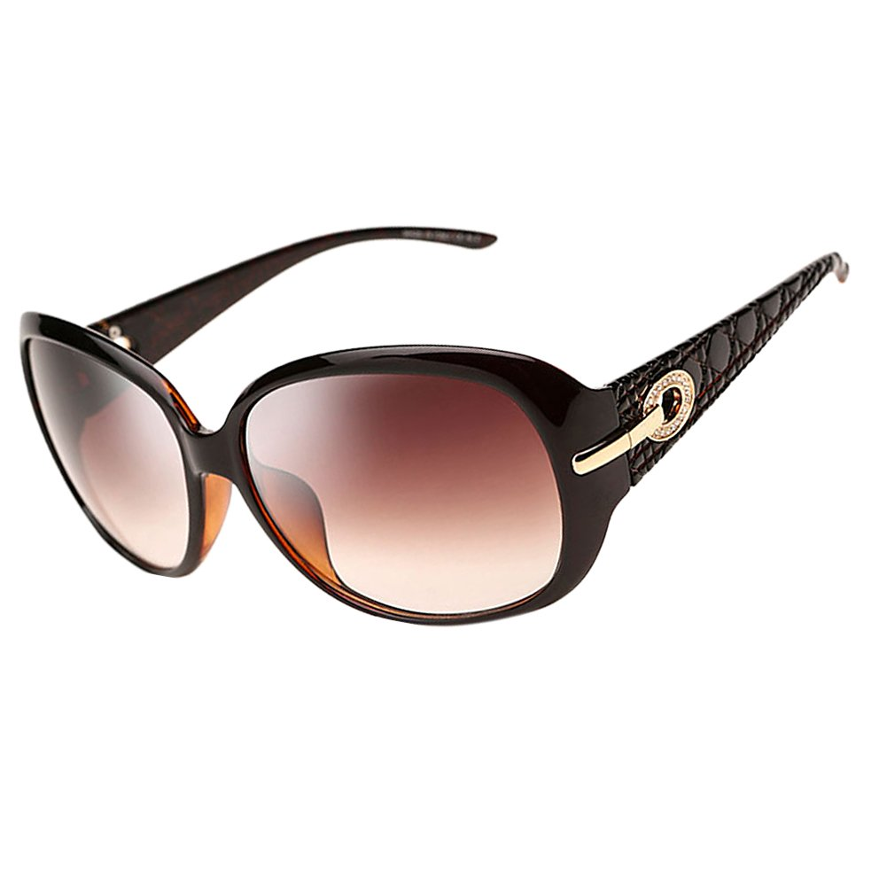 6c8221284c B cduco womens shades classic oversized polarised sunglasses uv protection  brown frame brown lens size one