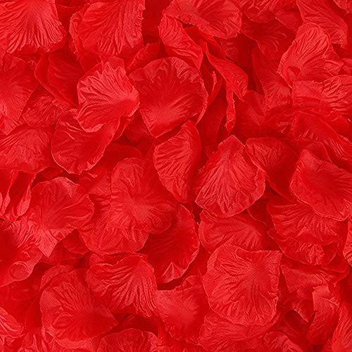 BESKIT 3000 Pieces Silk Rose Petals Artificial Flower Petals for Valentine Day Wedding Flower Decoration (Pure Red)