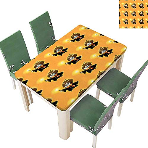 Printsonne Polyester Tablecloth Glass in Costume Frock Wand Pattern Magic Anime Orange and Black Easy Care Spillproof 54 x 120 Inch (Elastic -