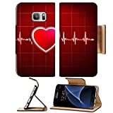 Liili Premium Samsung Galaxy S7 Flip Pu Leather Wallet Case Abstract heart beats cardiogram 29534721