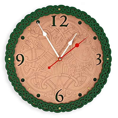- Celtic knots HANDCRAFTED wooden wall clock, copper and green, home decor, chrismas new year gift