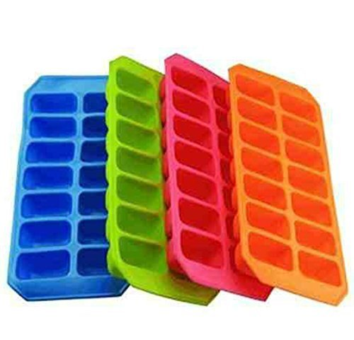 - White 32 x 12 cm KitchenCraft Flexible Easy-Release Plastic Ice Cube Tray 12.5 x 4.5