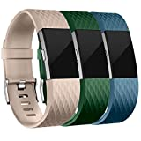 Wepro Bands Replacement for Fitbit Charge 2, 3-Pack, Large, Small
