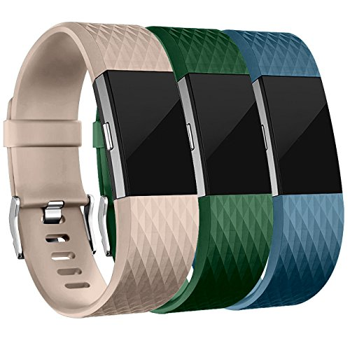 Wepro Bands Replacement for Fitbit Charge 2, 3 Pack, Large, Small