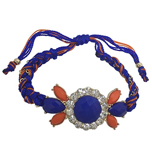 (Orange & Royal Blue Braided Thread with Rhinestone Center Pull Tie Bracelet)