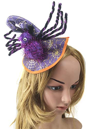 Satin Spider Witch Hat - Coolwife Women Halloween Witch Hat Cap Headwear Costume Dress Up Party Hairband (Spider Purple)