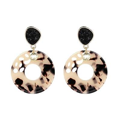 e3a6b6950 Acrylic Hoop Earrings Bohemian Brown Flower Resin Natural Stone Stud  Earrings for Women: Amazon.co.uk: Jewellery
