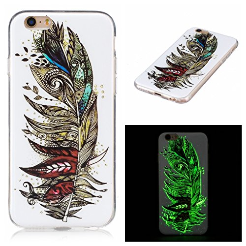 """Coque iPhone 7, IJIA Ultra-mince Transparent Noctilucent Plume TPU Doux Silicone Bumper Case Cover Shell Skin Housse Etui pour Apple iPhone 7 (4.7"""") + 24K Or Autocollant"""