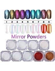BORN PRETTY 9 Boxes Pearl Powder Nail Mirror Effect Rainbow Unicorn Nails Art Glitter Chrome Metallic Manicure Pigment 1G