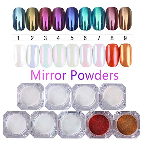 BORN PRETTY 9 Boxes Pearl Powder Nail Mirror Effect Rainbow Nails Art Glitter Iridescent Metallic Manicure Pigment 1G