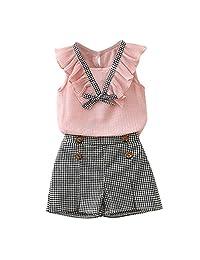 Kehen Kid Little Girl Summer Outfit Classic School Uniform Dresses 2pcs Sleeveless Ruffles Shirt + Plaid Shorts