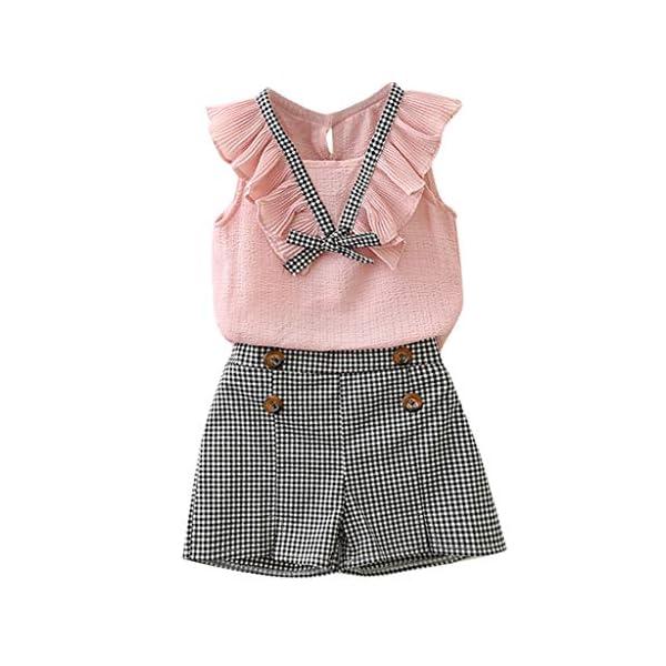 Kerrian Online Fashions 51U1xxdn9aL 2Piece Toddler Kids Baby Girls Outfits Clothes Bowknot Chiffon Ruffle Vest Shirt Tops+Plaid Shorts Pants Set