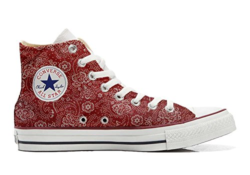 personalisierte Hi 32 Red Handwerk Star size All Converse Schuhe EU Customized Schuhe Paisley wPxSfqI
