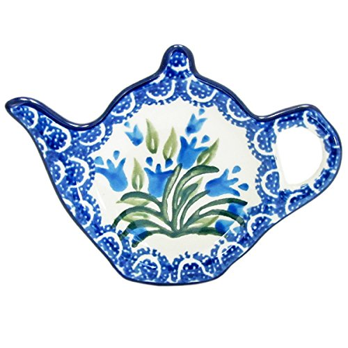 Polish Pottery Teapot Teabag Holder Boleslawiec Poland Traditional Traditional Pattern 766- Blue Tulips